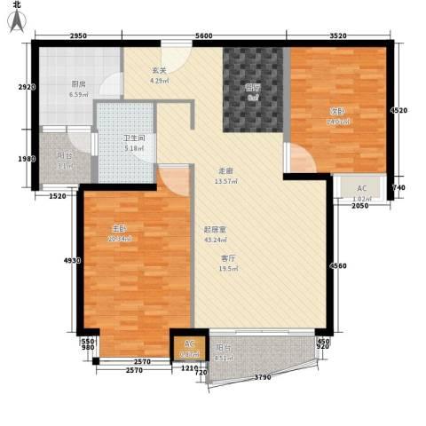中远两湾城四期2室0厅1卫1厨109.00㎡户型图