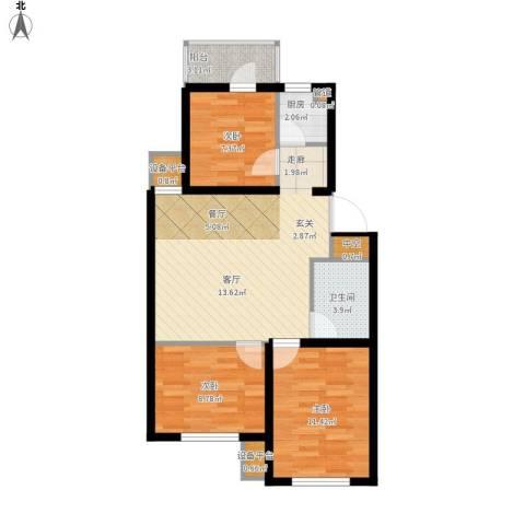 格林小镇3室1厅1卫1厨90.00㎡户型图