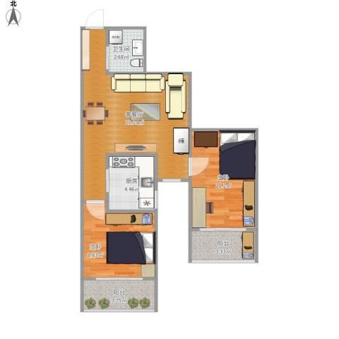 都市馨园2室1厅1卫1厨74.00㎡户型图