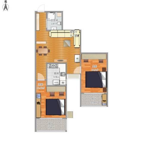 都市馨园2室1厅1卫1厨79.00㎡户型图