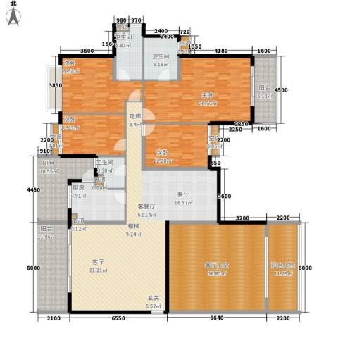 嘉信城市花园五期4室1厅3卫1厨238.00㎡户型图