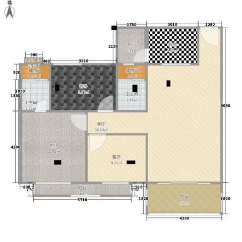 帝景豪庭2室2厅2卫1厨111.00㎡户型图