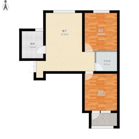 紫晶悦城2室1厅1卫1厨90.00㎡户型图