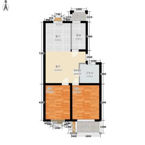 腾达雅苑2室0厅1卫1厨75.00㎡户型图
