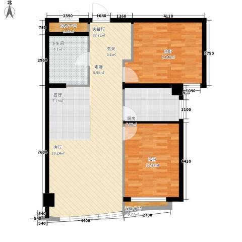 和平丽苑2室1厅1卫1厨90.00㎡户型图