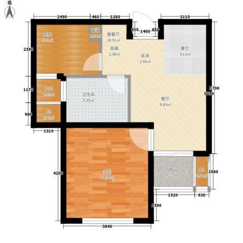 新创理想城1室1厅1卫1厨58.00㎡户型图