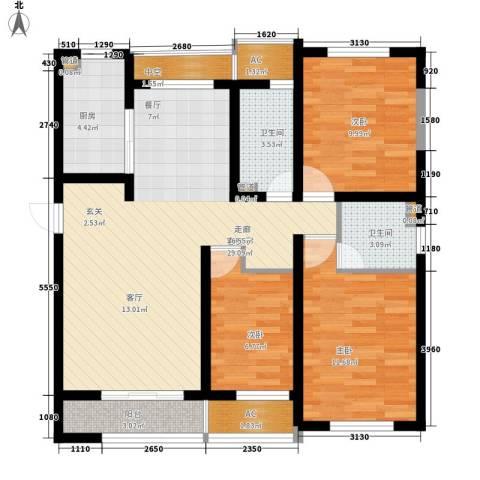 新创理想城3室1厅2卫1厨92.00㎡户型图