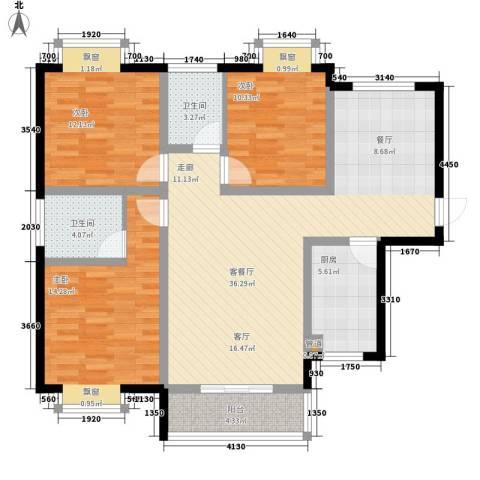 水云间3室1厅2卫1厨123.00㎡户型图