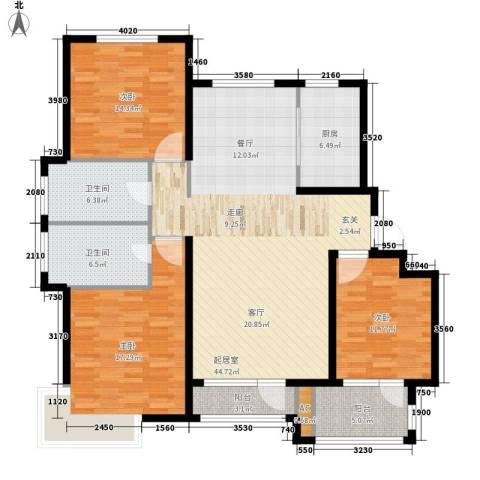 荣盛馨河郦舍3室0厅2卫1厨131.00㎡户型图