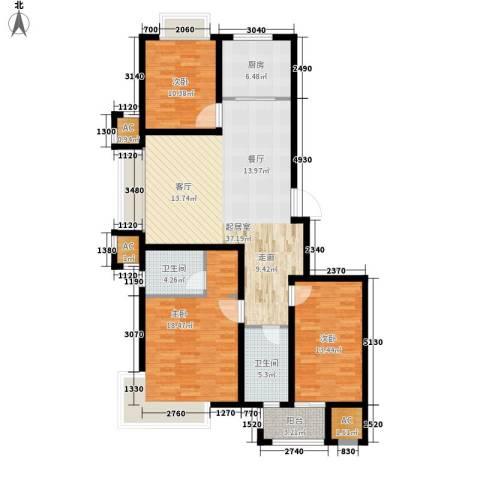 荣盛馨河郦舍3室0厅2卫1厨117.00㎡户型图