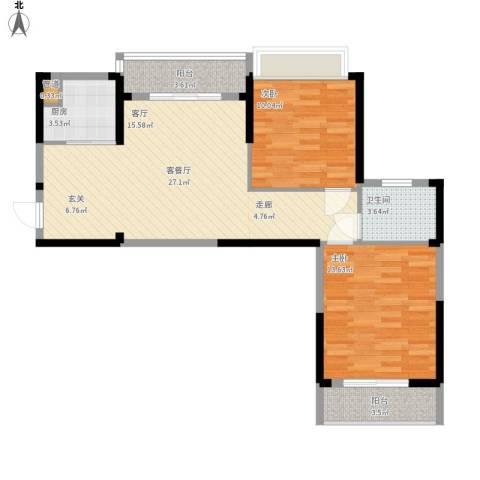 东湖御院2室1厅1卫1厨93.00㎡户型图