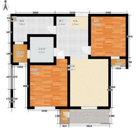 润和花园2室0厅1卫1厨87.00㎡户型图