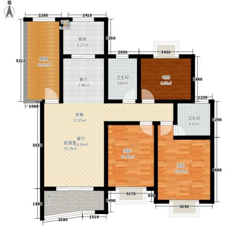 金典名筑3室0厅2卫1厨112.00㎡户型图
