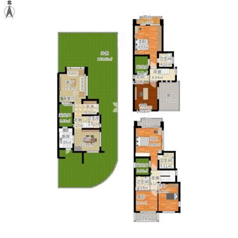 张江汤臣豪园别墅5室1厅5卫1厨456.00㎡户型图