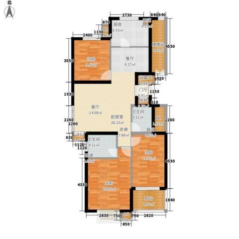 陶然居3室0厅2卫1厨107.00㎡户型图