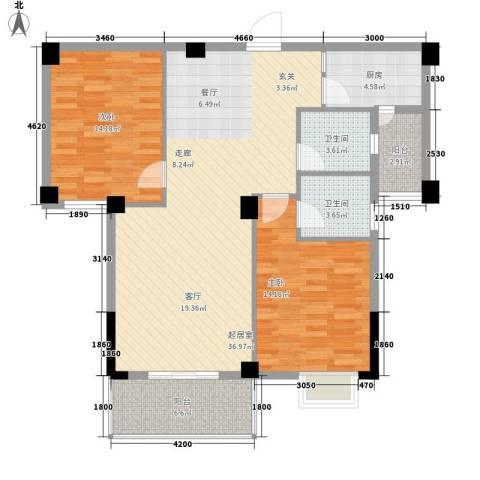 路安花苑2室0厅2卫1厨97.00㎡户型图
