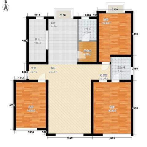 东坡家园3室0厅2卫1厨137.00㎡户型图