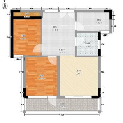大地之歌2室1厅1卫1厨72.00㎡户型图