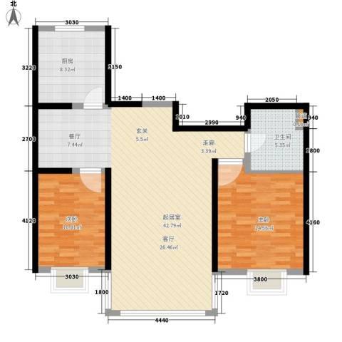 春天花园2室0厅1卫1厨93.00㎡户型图