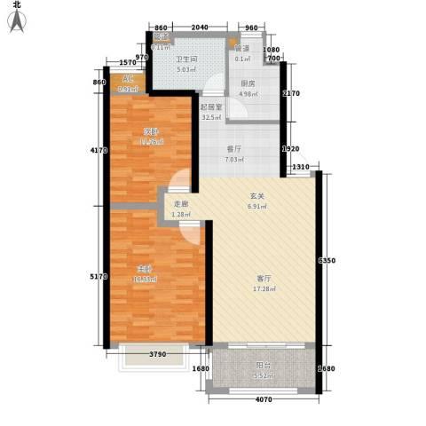 春天花园2室0厅1卫1厨90.00㎡户型图