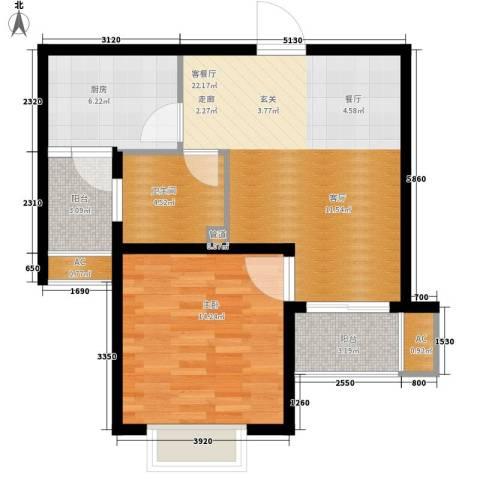 新创理想城1室1厅1卫1厨63.00㎡户型图