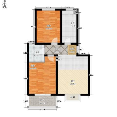杰岛名城2室1厅1卫1厨80.00㎡户型图