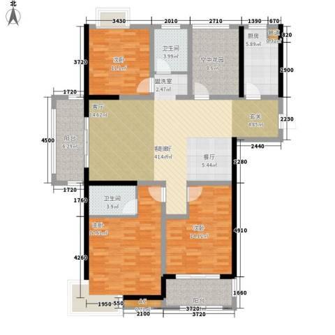 书香门第3室1厅2卫1厨136.00㎡户型图