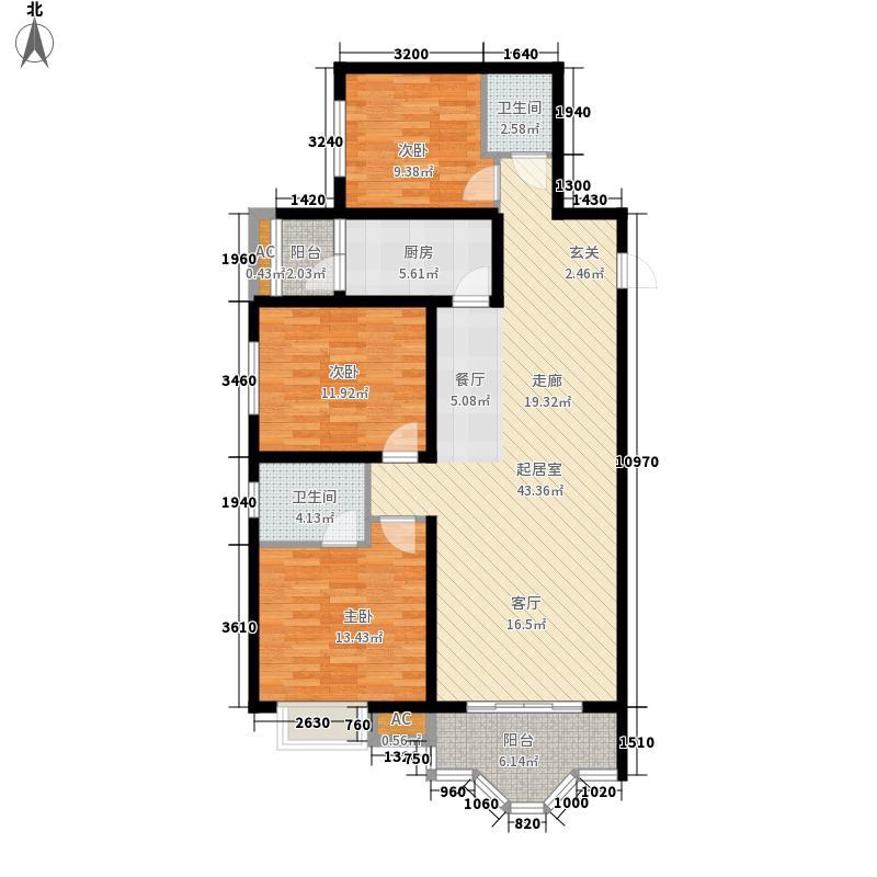 美寓华庭三期高新尚居113.66㎡美寓华庭户型图B3室2厅2卫1厨户型3室2厅2卫1厨