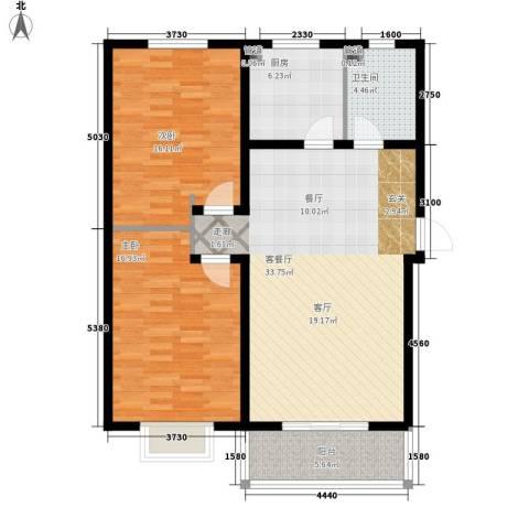 杰岛名城2室1厅1卫1厨95.00㎡户型图