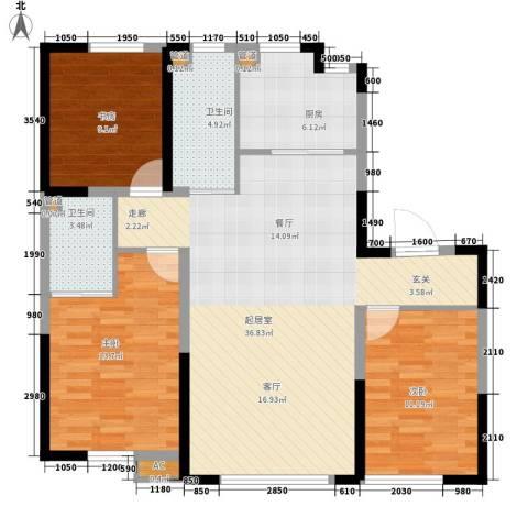 新星宇和悦3室0厅2卫1厨124.00㎡户型图