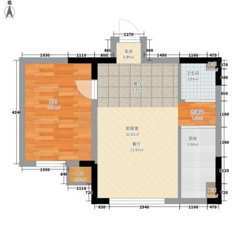 新星宇和悦1室0厅1卫1厨58.00㎡户型图