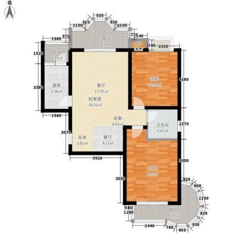 美寓华庭三期高新尚居2室0厅1卫1厨99.00㎡户型图