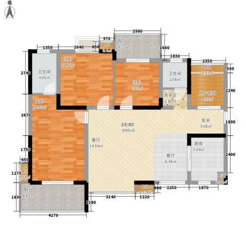 华银天际二期3室0厅2卫1厨123.00㎡户型图