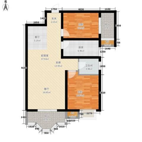 美寓华庭三期高新尚居2室0厅1卫1厨94.00㎡户型图