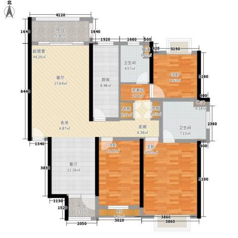 春天花园3室0厅2卫1厨131.00㎡户型图