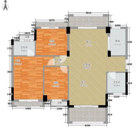 华海3c电脑城3室0厅2卫1厨132.00㎡户型图