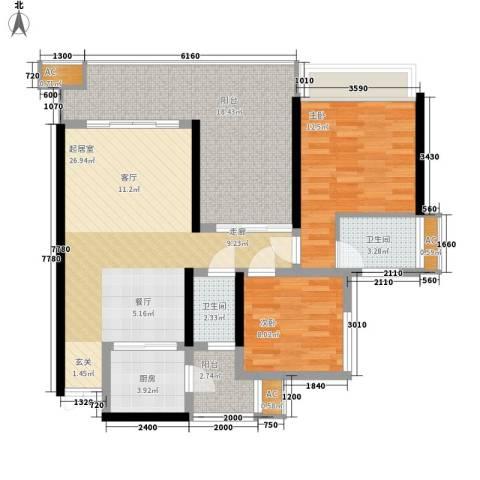春城斓山2室0厅2卫1厨80.05㎡户型图