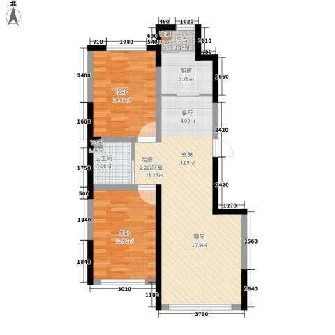 新星宇和悦2室0厅1卫1厨88.00㎡户型图