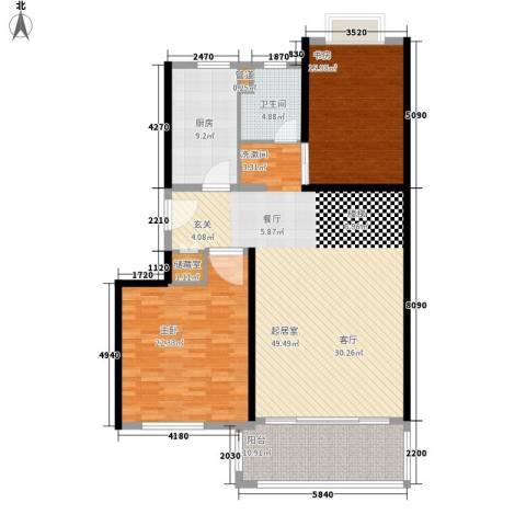 春天花园2室0厅1卫1厨128.00㎡户型图