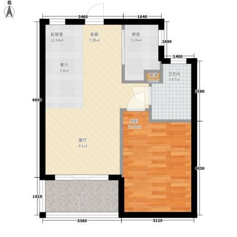 双大・山湖湾1室0厅1卫1厨64.00㎡户型图