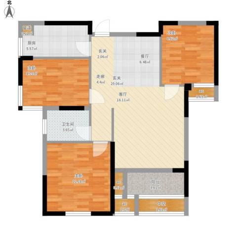 名湖豪庭3室0厅1卫1厨107.00㎡户型图
