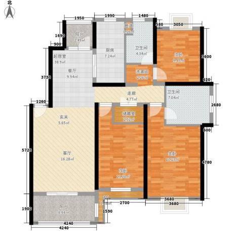 春天花园3室0厅2卫1厨136.00㎡户型图