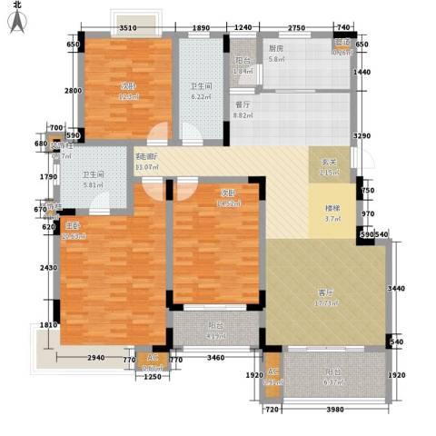 书香门第3室1厅2卫1厨177.00㎡户型图