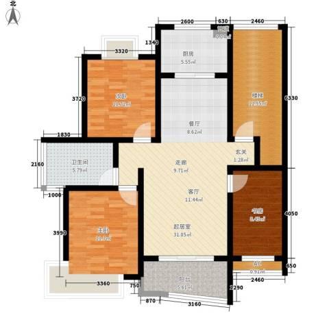 金典名筑3室0厅1卫1厨107.00㎡户型图