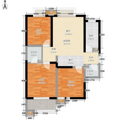 美寓华庭三期高新尚居3室0厅2卫1厨106.00㎡户型图