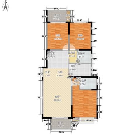 信旺华府骏苑3室0厅2卫1厨162.00㎡户型图