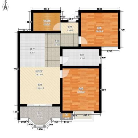 美寓华庭三期高新尚居2室0厅1卫1厨93.00㎡户型图