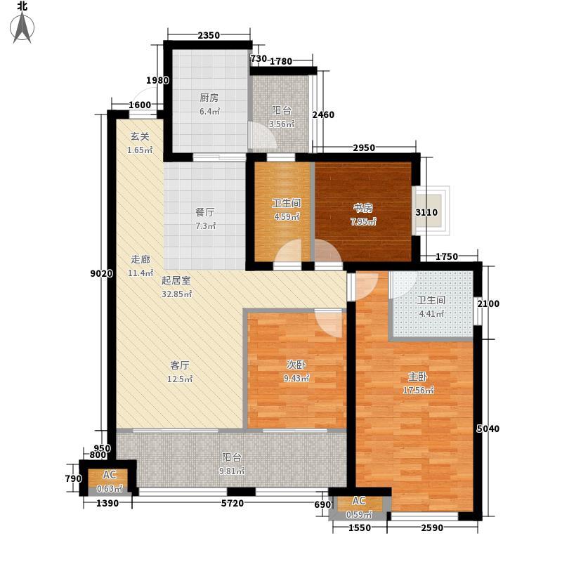 腾业・国王镇户型图B4户型 3室2厅2卫1厨