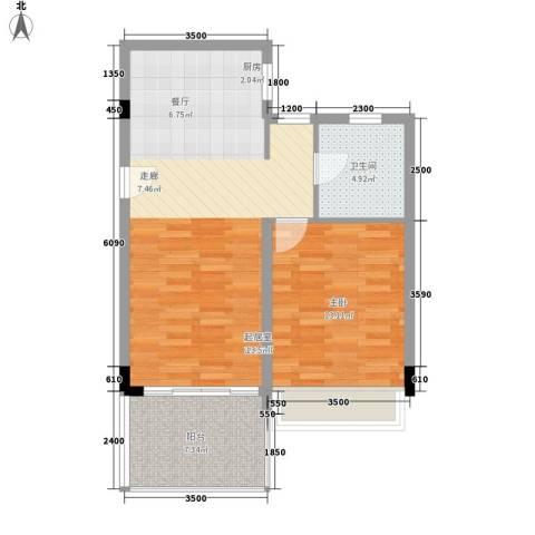 中信博鳌千舟湾1室0厅1卫0厨77.00㎡户型图