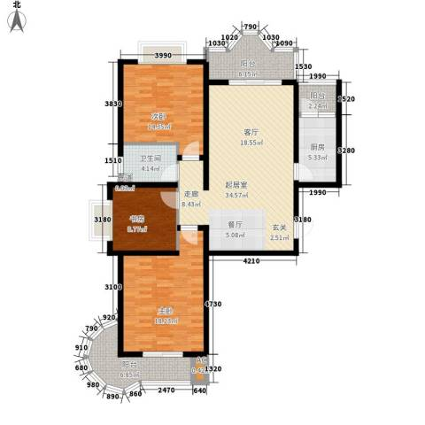 美寓华庭三期高新尚居3室0厅1卫1厨116.00㎡户型图